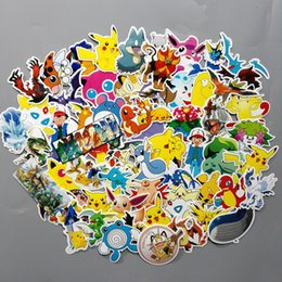 Wholesale Kids Play Toys Wholesalers - 60Pcs Set Anime Poke Waterproof Laptop Car Stickers For Trunk Skateboard Guitar Fridge Decal Poke GoToy Stickers For Kids