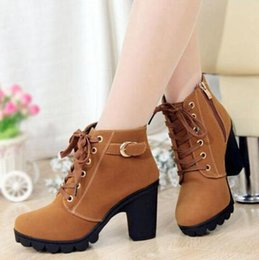 Wholesale Ladies Ankle Heels - Wholesale- New 2014 Brand Autumn Winter Women Boots High Quality Solid Lace-up European Ladies PU Leather Fashion High Heel Boots