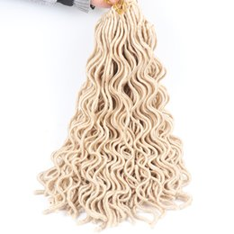"Wholesale 24 Inch Wavy Hair Synthetic - 6 packs faux locs 20"" 24 roots pack Blonde wavy faux locs crochet hair extensions synthetic hair extensions"