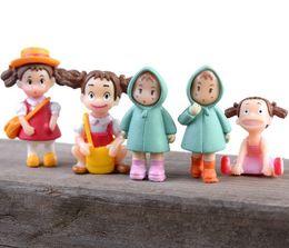 Wholesale Love Figurine - 5sets(6pcs set) Kawaii Zakka Run Act Loving Girl Raincoat Xiaomei Doll Micro Landscape Anime Cartoon Figurines Fairy Garden Miniatures