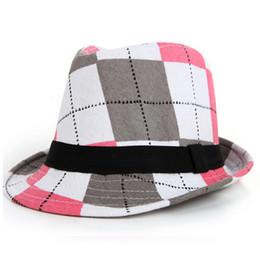 Wholesale Bucket Hat Children - Kids Printing Jazz Hat With Ribbon Beach Print Plaid Bucket Hats Fashion Children Flower Fedora Trilby Cap For Boy And Girl