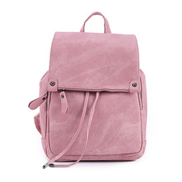 Wholesale Rucksack Leather - Women Leather Backpacks School Bag for Teenage Girls Female Fashion Rucksack Mochila Grey Black Travel Backpack