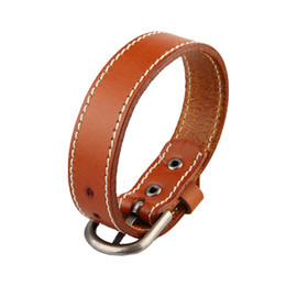 Wholesale Wristband Red For Men - Pure Color Genuine Leather Strap Buckle Bracelet For Men Women Multicolor Handmade Wristband Bracelets Jewelry Gift