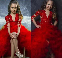 Wholesale Teen Girls Short Formal Dresses - Modest Red 2k17 Flower Girls Dresses For Formal Jewel Illusion Appliques Ruffles Long Sleeves Hi lo Girls Girls Pageant Dresses For Teens