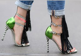 Wholesale Sexy High Heels Lady - Summer new Tassel Style Sandals For Women Gladiator High Heel fringe sandals Sexy Stripped ladies Shoes Brand Designers