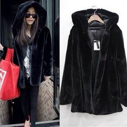 Wholesale Regular Hair - Cheap wholesale lady coat Europe and the United States Imitation mink hair Even hat coat Long sleeved faux fur coat High-quality XL Free shi