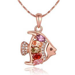 Wholesale Fish Pendant Gold Filled - New arrival fish 18k gold jewelry necklace fit women GGN764,Rose Gold White gemstone Pendant Necklaces with chains