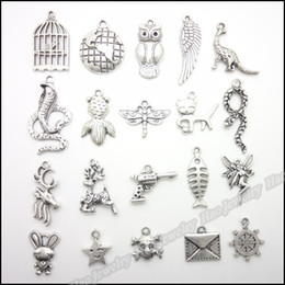 Wholesale Mixed Tibetan Silver Pendant Charms - Mix 200pcs Vintage Charms Pendant Tibetan silver Fit Bracelets Necklace DIY Metal Jewelry Making