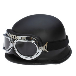 Wholesale Dot Approved - 2017 wholesale WWII German Vintage Motorcycle Helmet Motocicleta Capacete Casco motorbike scooter Half Helmets With Goggles DOT Approved