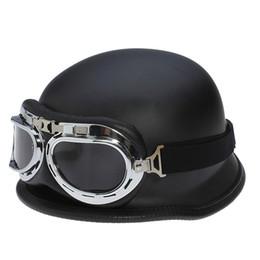 Wholesale half helmet goggles - 2017 wholesale WWII German Vintage Motorcycle Helmet Motocicleta Capacete Casco motorbike scooter Half Helmets With Goggles DOT Approved