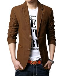 Wholesale Urban Brand Clothing - Wholesale- spring 2016 suit men brand casual jacket terno masculino latest coat designs blazers men urban clothing pea coats M-5XL