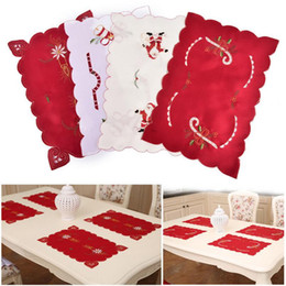 Wholesale Wholesale Christmas Napkins - Christmas Embroidered Table Mats Hollow Out Table Mats Placemats Napkins Decor Cover Dining Table Mat Xmas Home Decor OOA2841