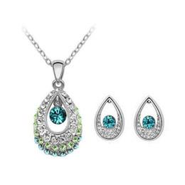 Wholesale Crystal Tears Pendant Necklace - Women Austria Crystal Earring Pendant Necklace Jewelry Set Angel Tear Ear Studs Crystal Pendant Necklace Jewelry Set New Arrivel Best Gift