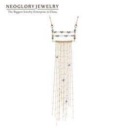 Wholesale Stylish White Shirts For Women - MADE WITH SWAROVSKI ELEMENT Crystal Long Tassels Pendant Necklaces Champagne Gold Plated T-Shirt Fashion Stylish For Women New Neoglory