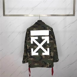 Wholesale Camouflage Varsity Jacket - OFF WHITE Varsity Jacket For Men And Women Classic Arrow Printing Baseball Jersey Jackets Winter Military Style Coat Camouflage Outerwear