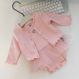 Wholesale Infant Girl Cardigans - Infant Baby Girls Clothing Sets Cardigan Tops + Rompers Cotton Lace Tutu Romper Onesie Cotton Kids Girl Princess Partywear Suits Pink A6855