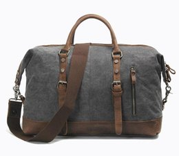 Wholesale Brown Canvas Duffel Bag - factory sales mens bag vintage and large-size canvas bags fashion crazy horse cowskin man handbag with a simple leather handbag