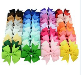 Wholesale Christmas Hair Ribbon Wholesale - Christmas Kids Girls Hair Bow Grosgrain Ribbon Hair Clips Holiday Gift For Children Hair Accessories 40 Color 40pcs lot