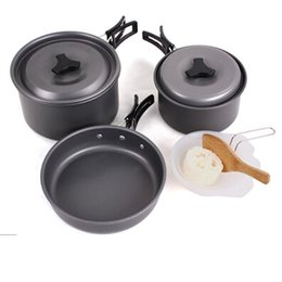 Wholesale Wholesale Frying Pan Sets - Outdoor Camping Picnic Aluminum Alloy Tableware Cookware Non-stick Pots Frying Pan Bowl Set with Foldable Handles For Camping Outdoor Travel