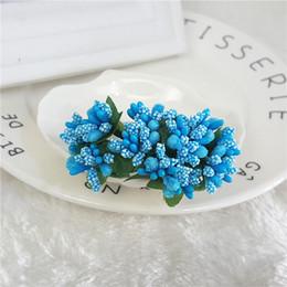 folhas falsas diy Desconto Nova DIY Scrapbooking Espuma Artificial Mini Estame Bud Bouquet Deixa Flor Para A Festa de Casamento Em Casa Decoração Flor Falsa