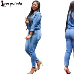 Wholesale Denim Long Sleeve Jumpsuit - Wholesale- Denim Bandage Jumpsuit Womens Rompers Casual Button Cardigan Bodysuit Long-sleeve Turn-down Collar Plus Size 2016Summer vestidos