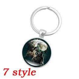 Wholesale Wholesale Wolf Keychain - 7 style Fashion Silver Color Key Chain Howling Wolf and Moon Art Glass Dome Pendant Keychain Key Ring for Women Jewelry Gift