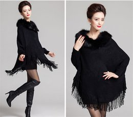 Wholesale Sweater Women Fur - High Quality Fur Cardigan Women 2016 Autumn Winter Hooded Warm Poncho Capes Cashmere Wool Knitted Sweater Shawl Coat