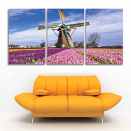 Wholesale Tulip Canvas Wall Art - 3 Panel Printed Modern Canvas wall Art Windmills and Tulips Landscape Painting Flower Scenery Picture for home decor Living Room