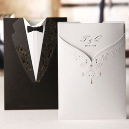 Wholesale Invitation Card Dress - Wholesale- Black Groom Suit and White Bride Dress Wedding Invitations Cards with Envelopes and Seals, Free Printing