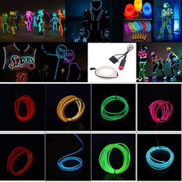 Wholesale Wholesale Neon Tubes - 5M Flexible Neon Light 16.4ft Glow EL Wire String Strip Rope Tube Light Car Dance Party Costume+ Controller Decorative Christmas Light