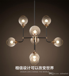Wholesale North Europe Lighting - North Europe led pendant light 8 globe art glass chandelier DNA pendant lights for coffee clothing lighting fixture