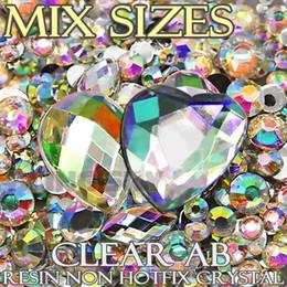 Wholesale Hotfix Clear Rhinestones 3mm - Wholesale- 1500Pcs Lot Mix Sizes Clear AB Black Round Acrylic Resin Non Hotfix Flatback Rhinestone 2mm 3mm to 6mm for 3D Nail Art Crystal