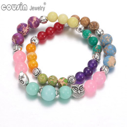 Wholesale Handmade Beaded Necklaces For Women - SZ0429 Fashion Jewelry Handmade High Quality Natural Stone Necklace Bracelet Femme Owl Bead Bracelets for Women Men
