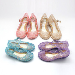 Wholesale Crystal Ankle Strap Shoes - New cartoon Princess sandals Fashion girls Princess shoes PVC baby Crystal shoes 5 colors C3055