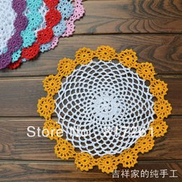 Wholesale Flower Pics Pink - Wholesale- Free shipping ZAKKA design 12 pic lot 21cm color sun flowers lace doilies 100% cotton cutout crochet pad mat coasters for table