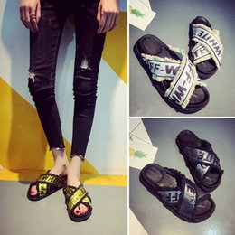 Wholesale Bohemia Shoes - OFF White denim Fashion Slides Women Summer Slippers 2018 Sandals Pink Flat Chinelo Brand Beach Shoes Rihanna Casual Flip Flops Bohemia