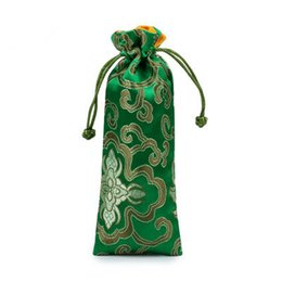Wholesale Trinket Necklaces - Lengthen Rich Flower Silk Brocade Pouch with Lined Drawstring Jewelry Necklace Gift Bags Wooden Comb Trinket Storage Pocket 7x19 cm