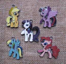 Wholesale Mixed Horse - New mix 50 pcs Cartoon horse Enamel Metal Charms Jewelry Making Pendants Charms