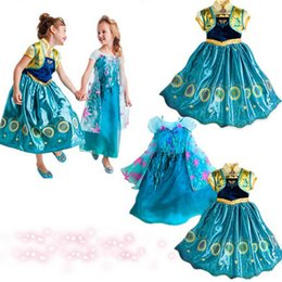 Wholesale Mid Dress Gown - Age 3-10 2017 Elsa Anna costume Cosplay dress princess girls dresses Kids party dresses infantis vestido Menina baby clothing