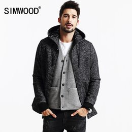 Wholesale Mens Wool Cashmere Blend Overcoats - Wholesale- SIMWOOD Brand 2013 New Winter Coats Men casual jacket fashion Wool and Blends parkas warm mens cashmere overcoats DY103