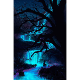 Wholesale Tree Bedroom - waterfall DIY Diamond Painting Embroidery 5D Reflection Tree Pattern Crystal Square Unfinish Home Bedroom Wall Art Decor Craft Gift