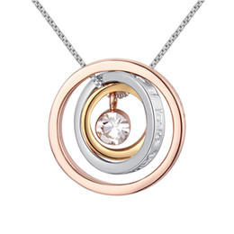 Wholesale Crystal Chain For Jewelry Making - Fashion brands 9 colors concentric circles pendant necklace Made with Swarovski ELEMENTS crystals best Christmas jewelry gift for women