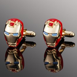 Wholesale Business Meeting Gifts - Classic Ironman Model Men Cufflinks Business Shirt Sleeve Button Gold Plated Cuff Link Meeting Wedding Party Chritmas Gift