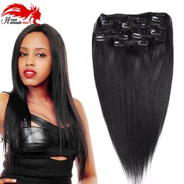 Wholesale Thick Straight Clip Extensions - Hannah Brazilian Clip in Hair Extensions Human Hair,Black Straight Clip in Extensions,70g,100g,140g,200g Full and Thick 8pcs Set