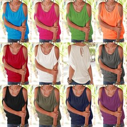Wholesale Blue Red Crewneck - DHL Women Fashion Solid Color Tops Lady's strapless T shirt Beach Casual Hollow Out Half Sleeve 11 colors Blouse with Crewneck Towoto