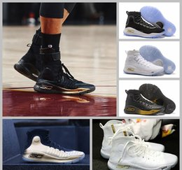 Wholesale Low Cut Shoes For Basketball - 2017 Steph Curry 4 Parade Away Black And Ice White Basketball Shoes For Men Currys Fashion Brand Basket Ball Sports Sneakers US7-12