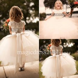 Wholesale Kids Special Occasion Dresses - Lovely Short Sleeve Lace Flower Girl Dresses Special Occasion For Weddings Tea Length Kids Pageant Gowns Appliques Communion Dress 2017