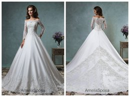 Wholesale Scalloped Ivory Wedding Gown - 2017 Lace Ball Gown Wedding Dresses Square Neck Wedding Dress White Satin Applique Scalloped Edge Wedding Gowns Buttons Canty Long Sleeve