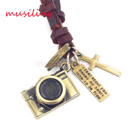 Wholesale Camera Necklace Leather - musiling Jewelry Leather Necklace Pendants Guitar Digital Camera Accessories Metal Pendulum Amulet Hip Hop Women Mens Decorations Gifts