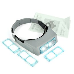 Wholesale magnifying glass lamps - 4 Lens Head Band Binocular Magnifier Optivisor Headset Light Lamp Head Band Set 4x Lighted Magnifying Glass Eye Loupe Watch Repair Welding